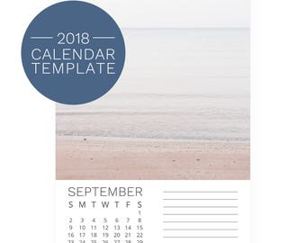 2018 Calendar Template 5x7 - Photo Template - DIY Desk Calendar - 2018 Photography Calendar - Printable Calendar Download - Art Calendar
