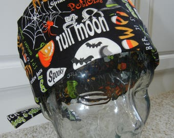 Tie Back Surgical Scrub Hat with Halloween Words Phrases