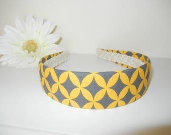 Fabric Covered Headband with Gray Gold Diamond