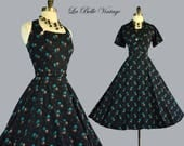 L'aiglon 50s Halter Dress Bolero S M Vintage Floral Sundress Set ~ Adjustable X Sunback