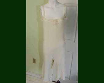 Vintage 1920's Woman's Fine Knit Bloomers Onsie Underwear with Crochet and Lace Trim