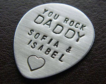 Custom Guitar Pick - Personalized Hand Stamped Sterling Silver Pick - Perfect Gift for Father's Day
