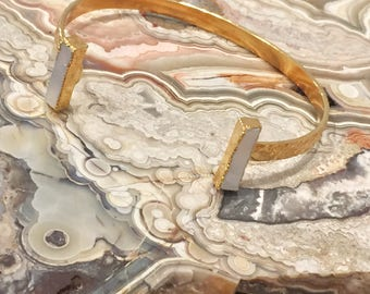 Dara Ettinger 14kt Gold and Natural Mother of Pearl Double Stone Open Skinny Hammered Cuff Bracelet