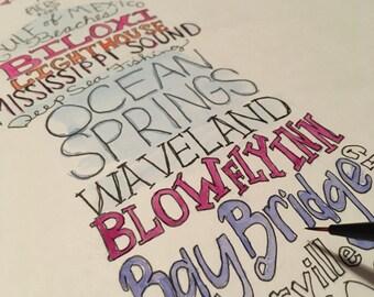 Mississippi Gulfcoast wordart local landmark art signed limited edition print UNFRAMED