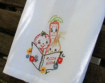 Tea Towel | Veggie Kitchen Towel | Anthropomorphic Embroidery | Kitchen Decor | Cute Veggies | Vegetable Foodies | Gardener or Foodie Gift