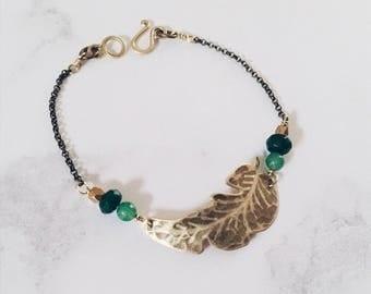Palm leaf bracelet, tropical leaf jewelry, Leaf-Life collection, nature green bracelet