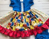 Sesame Street birthday dress Elmo Cookie Monster clothes outfit toddler first birthday big burd summer Momi boutique custom