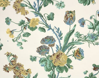 1950s Vintage Wallpaper by the Yard - Floral Wallpaper with Yellow Blue and Brown Roses on Cream Nancy McClelland