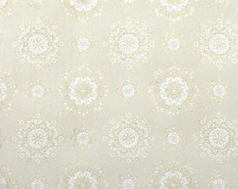 1950's Vintage Wallpaper by the Yard - White and Metallic Gold Snowflake Doily Neutral Geometric