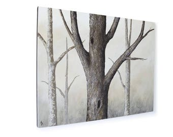 Winter Oak Forest tree painting - 24x30 oak tree art - neutral landscape - textured bark - woodland forest - canvas sofa art