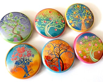 Fridge Magnet Set Nature Trees Leaves Flowers 1 inch refrigerator fall autumn retro stockings stuffer party favor shower hostess gifts flair
