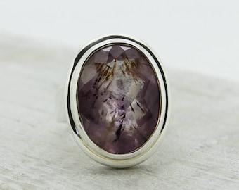 Big Super seven ring Melody stone cacoxenite ring Big stone ring sterling silver ring Elestial stone super seven super 7 ring for her