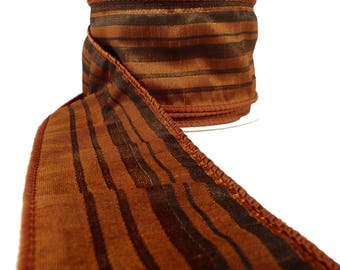 "3 Rolls Of Fall Rusty Orange Black Burnt Umber Stripe Wired Ribbon  2.5"" Wide"