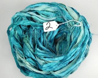Sari Silk Ribbon, Silk Sari Ribbon, Teal sari ribbon, knitting supply, weaving supply, tassel making ribbon, rug supply, recycled sari