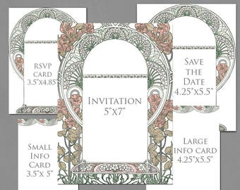 Wedding Invitation Template Graphics for Invite, RSVP, Save the Date Info Cards - Gatsby Garden Blush Pink Pastel Colors - Art Nouveau Frame