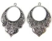 Antique Silver Earring Findings Large Lotus Earring Dangle Bohemian Jewelry Pendant |S6-1|2