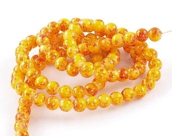 """30% Retirement Closeout - Sunkist, Splattered Painted Glass, 8mm Round, 15"""" Strand, 8S-GLSUR8-015-001"""