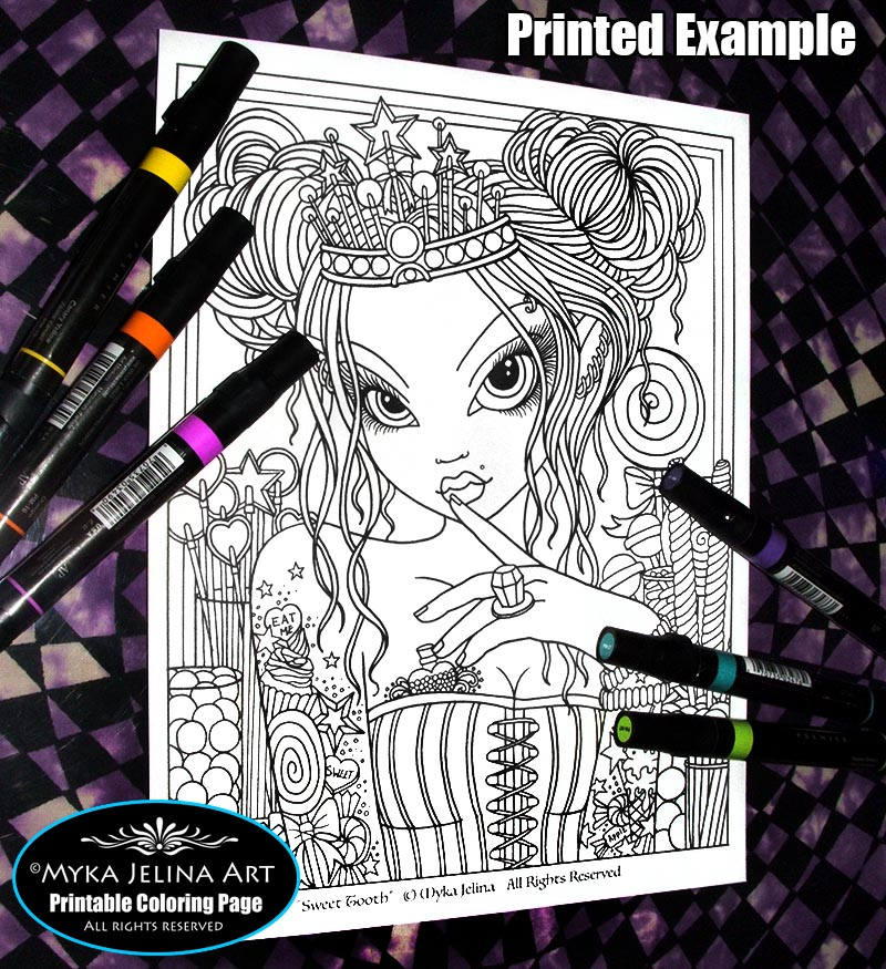 Digital download coloring page sweet tooth myka jelina for Myka jelina coloring pages