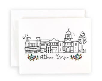 Athens, Georgia Skyline Holiday Notecard Set