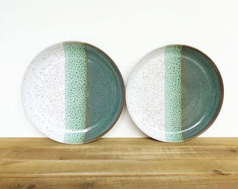 Stoneware Ceramic Pottery Rustic Dinner Plates in Sea Mist Blue Green and White Glazes - Set of 2