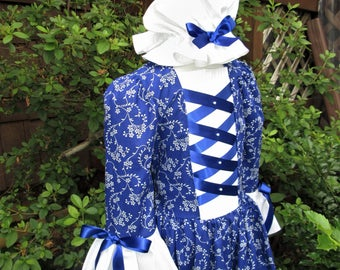 Girls Size  10/12 Colonial dress and cap.. Williamsburg costume  (PLEASE read full description with measurements)