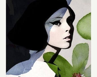 HUGE SUMMER SALE 40% off Fine Art Print, Giclee Archival Print, Photomontage, Collage, Painted Photographs, Girl with Pomagranate....fine ar