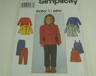 Simplicity Easy To Sew Toddlers' Coat, Jacket, Jumper, And Pants Pattern 7872 Size 2,3,4