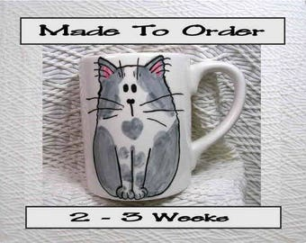 Grey & White Cat With Heart Mug 12 Oz. Ceramic  Handpainted by Grace M. Smith