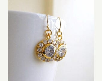 Summer Sale Bridal Earrings Round CZ Gold Filled CNE8PG
