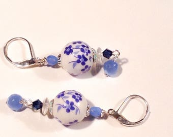 Blue and White Flowers Porcelain Dangle Earrings, Leverback, Clip-On, Niobium Hypo-allergenic, Sterling French Hooks