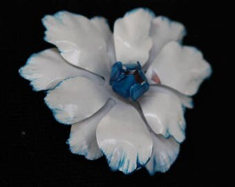 Vintage White with Blue Trim Enamel Flower Lapel Pin/Broach