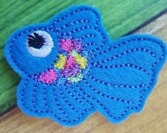 Colorful Fish Feltie, Fish Feltie, Embellishments, Felt Applique, Hair Bow Supplies