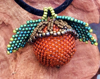 CLEARANCE - Beaded Acorn Pendant - Seed Beads - a Bead Woven Pendant by Hannah Rosner