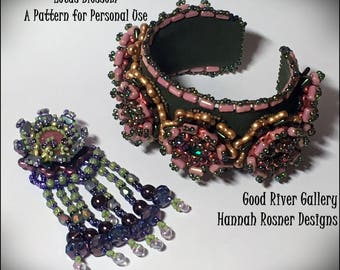 Bead Pattern Lotus beaded Bracelet or Pendant tutorial instructions - advanced level beading -  Hannah Rosner - Peyote Stitch & RAW