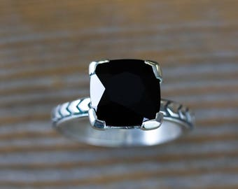 Art Deco Inspired Black Spinel Cushion Gemstone Ring in Sterling SIlver