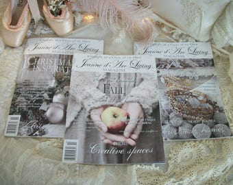 jeanne d'arc living magazine, 3 back issues, 'fall', 'christmas inspiration in november', and 'it's christmas', issues 10, 11 & 12, 2014