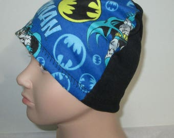 Children Kids  Blue Batman  Flannel Sleep Cap, Cancer Cap, Alopecia