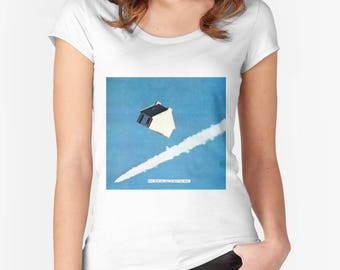 Women's T-shirt - how silent my stay in space has been - surreal collage art by livingferal