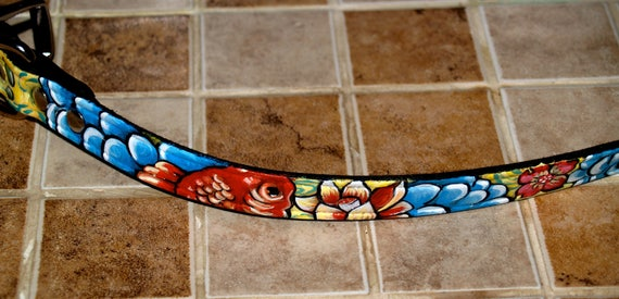 Black Leather TATTOO Dog Collar Handpainted KOI waves clouds  flowers 14 in 1/2 in wide