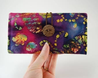 TWO Checkbook Cover for up to TWO Checkbooks, Checkbook Wallet, Multiple Checkbooks, Tie Dye Batik