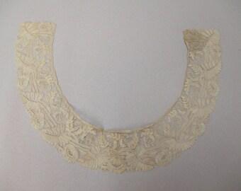 Antique lace collar handmade Point de Gaze lace
