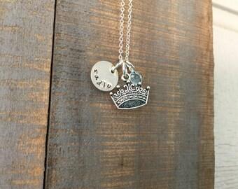 Princess Tiara Personalized Birthstone Charm Necklace