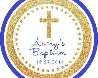 DIY Printable File- Baptism Cross Gold Glitter Blue Thank You Stickers, Tags, Labels- Avery Label 22807