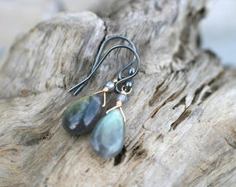 Labradorite Teardrop Gemstone Earrings, Mixed Metal Earrings, Oxidized Sterling Silver, 14KT Gold Filled, Gemstone Earrings, Bohemian Chic