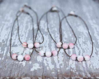 pink queen conch shell / handspun ROPE necklace / waterproof / kid-proof / life-proof / bohemian / minimalist beauty / tula blue