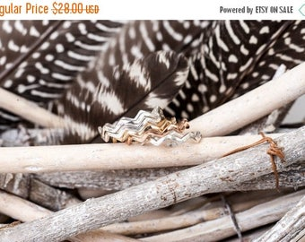 40% Off Bronze Birds in Flight Ring | Nature Inspired | Bronze Stacking Ring| Zig Zag Ring