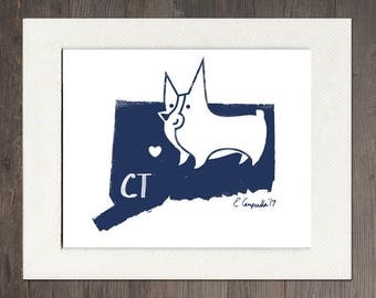 Connecticut Matted Art Print