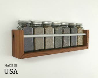 Spice Rack, Recycled Wood Modern Wood Spice Rack, Wall Mountable, Chef Gift, Housewarming Gift