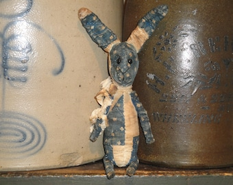 SMALL Old Quilt Bunny | Antique Quilt Rabbit | Vintage Quilt Bunny Rabbit | Primitive Quilt Rabbit |  Blue Cloth Bunny Rabbit | Cloth Bunny