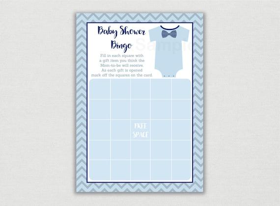 Baby Shower Gift Bingo Printable ~ Bow tie baby shower bingo onesie baby shower bow tie baby